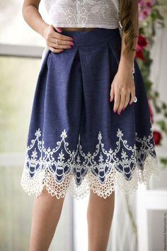 """Купить Юбка """"Jeans"""" - синий, джинсовый стиль, джинсовая юбка, юбка с кружевом, кружевная юбка"""