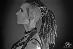 Anja LivingDreadDoll #post #apocalyptic #goth #gothic #girl #vampire #freaks #shaved #sides #undercut #dread #dreadlock #punk #rock #metal #wastelander #hair #cybergoth #bats #batcave #cyberpunk #synthetic #wool #dreads #piercing #fetish #sexy #rubber #top #leather #necklace #black #white #portrait #deathrock