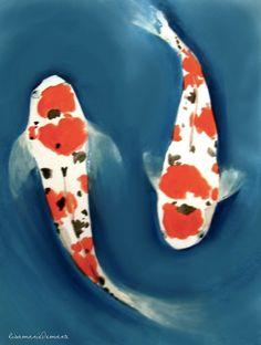 """Saatchi Art Artist: Lisa Marie Demarte; Acrylic Painting """"Japanese Koi"""""""