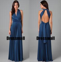 2015 Navy Blue Infinity wrap styles vestidos de festa vestido longo long convertible custom made party bridesmaid dresses