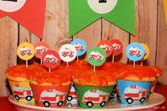 Dekoration für die Feuerwehr-Geburtstagsparty - einfach kostenlos ausdrucken und dekorieren.
