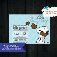 CUSTOM Snoopy  Baby Shower Invitations- Boy or Girl-- Pick Your Colors by WordsToArt on Etsy