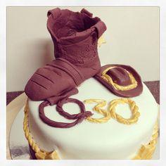 Cowboy themed birthday cake. 30th birthday.