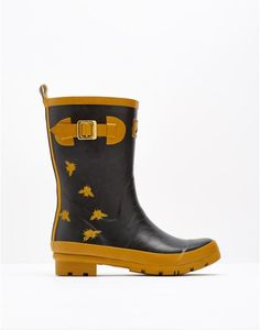 Molly Black Bee Print Mid Height Rain Boot Wellies | Joules US