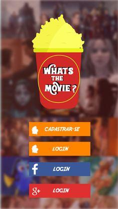 """App tela 1- Layout de um App que eu criei, o app se chama """"What's the Movie?"""" e é um buscador de filmes... (Tela Inicial)"""