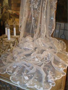 Antique Brussels Princess Lace Wedding Veil Circa 1899