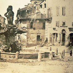 Piazza Barberini (Tuminello, 1855)  La Fontana del Tritone in primo piano e all'imbocco di Via Sistina (con la targa che riporta Via Felice, il suo antico nome nel primo pezzo) la Fontana delle Api nella sua originaria posizione.