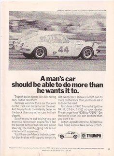 TRIUMPH SPORTS CAR 1970 Original magazine Print Ad pinup