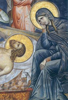 The Lamentation of Christ. Fresco from the 14th century Serbian Orthodox monastery of Decani, Kosovo,Serbia