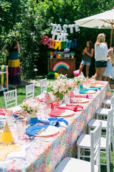 Not that there's ever a time that a rainbow birthday party *isn't* majorly awesome, but we think you'll agree that this joint b-day bash Deets & Things styled up is a whole new level of theme party fu Tangled Birthday Party, Rainbow First Birthday, 4th Birthday Parties, Birthday Party Decorations, Birthday Ideas, Girl Parties, 20th Birthday, Princess Birthday, Halloween Decorations