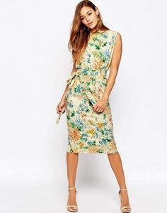 ASOS Belted Midi Dress With Split Sleeve In Floral Print