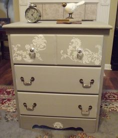 Chalk painted dresser redo with stencil