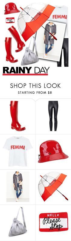 """#rainyday"" by hellodollface ❤ liked on Polyvore featuring Aigle, STOULS, Miss Selfridge, Karen Kane, Rains, Hunter, Moda Luxe and rainyday"