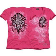 new ladies plus size top 3X Rhineston black/hot pink