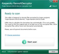 Kaspersky RannohDecryptor 1.8.0.0 To decrypt files affected by Trojan-Ransom.Win32.Rannoh, Trojan-Ransom.Win32.AutoIt, Trojan-Ransom.Win32.Fury, Trojan-Ransom.Win32.Crybola or Trojan-Ransom.Win32.Cryakl, use the RannohDecryptor utility. #computers #software