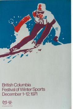 Original-vintage-poster-SKI-CANADA-B-C-WINTER-SPORTS