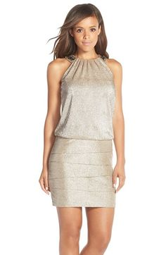 Laundry by Shelli Segal Embellished Foil Knit Blouson Dress available at #Nordstrom