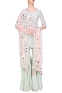 Pale blue sequins embroidered kurta and sharara pants set available only at Pernia's Pop Up Shop.