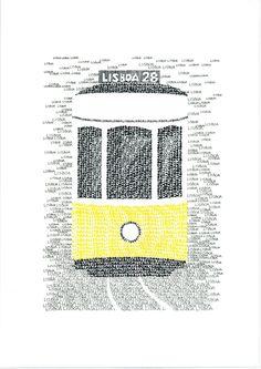 LISBON Typographic Art Print/handwritten van Yantree op Etsy