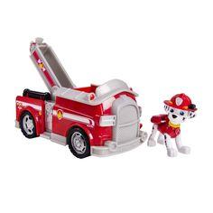 Ga op reddingsavontuur met Rescue Marshall uit de tv-serie Paw Patrol! De dalmatiër Marshall rijdt rond in zijn rode brandweerwagen en is soms een beetje klungelig! Beweeg het speelfiguur in de auto en beweeg de waterspuit in de juiste richting om het denkbeeldige vuur te blussen. Op de soepele wielen rijd je op hoge snelheid door naar de volgende locatie. Het speelfiguur en het voertuig zijn gemaakt van stevig kunststof en afgewerkt met fraaie details. Afmeting:17,5 x 9 x 9,5 cm. - Paw…
