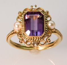 Amethyst Pearl and Diamond Ring  in 14K Gold by FernandoJewelry, $595.00