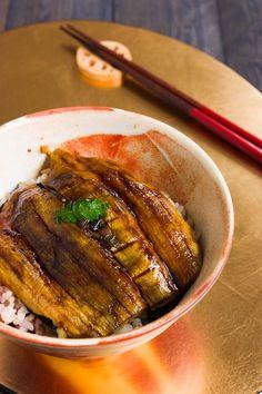 Roasted Eggplant Donburi. Mimic the textures and flavors of unagi using eggplant, seaweed and kabayaki sauce for a vegan alternative to eel.