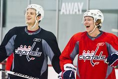 Carlson and Backstrom. Love their faces :D Caps Hockey, Ice Hockey, Capitals Hockey, Stanley Cup Champions, Washington Capitals, Champs, Nhl, Christmas Sweaters, Faces