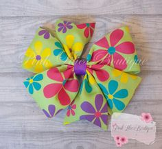 Flower Hair Bow Bright Flowers Hair Bow by PinkLiliesBoutique