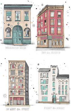Architecture buildings illustration by James Gulliver Hancock - color palette. Illustration Vector, House Illustration, Illustration Styles, Illustrations Posters, Building Illustration, Urban Sketching, To Infinity And Beyond, Grafik Design, Mail Art