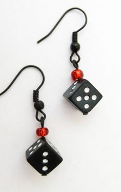 """Black Dice Earrings 192-E • Las Vegas or Bunco. Adorable black and white dice along with red beads dangling on black fish hook earrings. • Beads: Glass, acrylic • Findings: Black • Earring Type: Fish hook • Size: 1.25"""""""