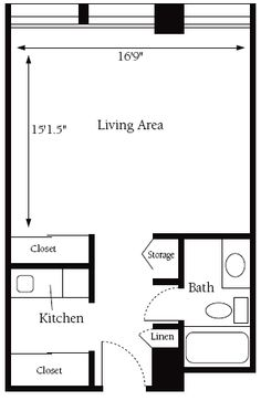 Studio Apartment Floorplan More Closet E Use Kitchen And Back Into Large Walk