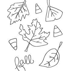 Free Printable Fall Leaves Leaf Line Draing outline black