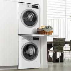 Combining simple installation with compact laundry solutions, Bosch gives you the flexibility to place the washer and dr Compact Laundry, Modern Laundry Rooms, Laundry Room Layouts, Laundry Room Remodel, Laundry Room Organization, Laundry Room Design, Laundry In Bathroom, Laundry In Kitchen, Small Laundry Closet