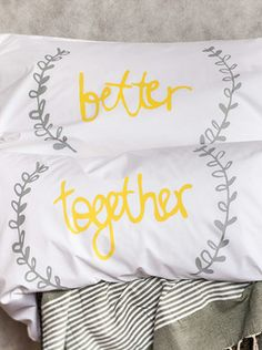 Better Together Couples Pillowcases, His and Hers Pillowcaes, Wedding gift by elephant+bird