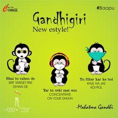 #GandhiGiri New Style!  Bhai tu rehn de! Sirf apne target par dhyan laga👌🏼 ... Happy Today, Mahatma Gandhi, Filter, Target, Hilarious, Signs, Comics, Movie Posters, Style