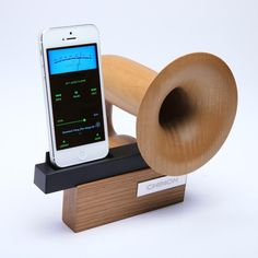 Is this the coolest iPhone accessory or what? Chinon Legato iPhone Passive Speaker Dock
