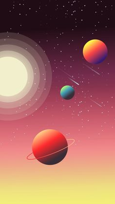 61 Ideas For Wallpaper Iphone Minimalist Space Space Iphone Wallpaper, Phone Screen Wallpaper, Galaxy Wallpaper, Cool Wallpaper, Wallpaper Backgrounds, Colorful Backgrounds, Space Illustration, Landscape Illustration, Digital Illustration