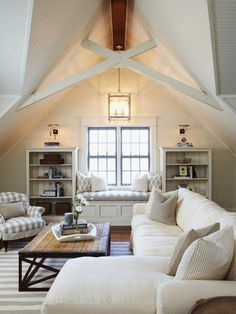Vaulted ceiling. Nooks. Natural light. Whiteness. Stripeness. Nothing not to like here.