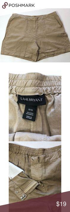 fe03144276e Lane Bryant tan linen shorts pockets 5308 Lane Bryant tan linen shorts  pockets back half of