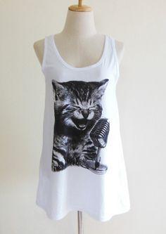 Kitty Cat Sing a Song Animal Style Tank Top Women Shirt White T-Shirt Tunic Screen Print Size M