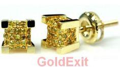 10K GOLD MENS 0.19 CT YELLOW DIAMOND STUD EARRINGS 6 MM WIDE - GoldeXit