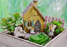 Miniature Fairy Garden Cottage Planter  by BeachCottageBoutique
