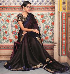 Wine Color Wrinkle Chiffon Function & Party Wear Sarees : Nirani Collection YF-30119
