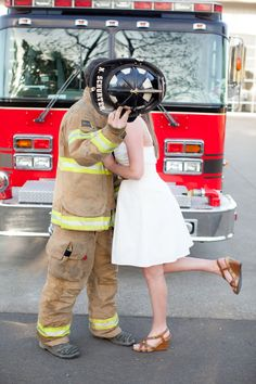 Farm Engagement | TESS + KYLE firehouse engagement session Murray Photography Newberg Oregon firetruck firefighter