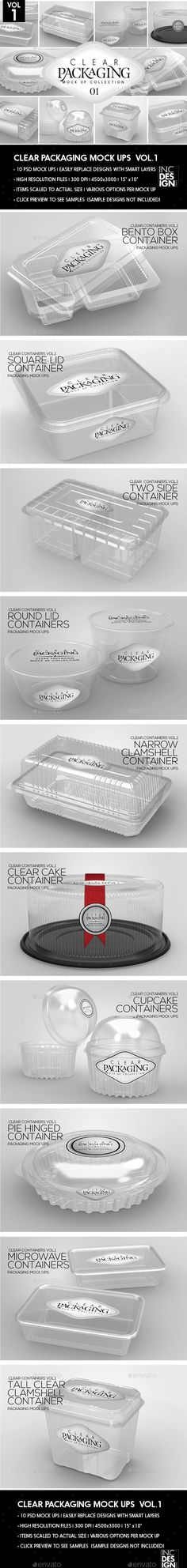 Clear Packaging MockUps 01 by incybautista Volume 1: Clear Plastic Food Containers Packaging Mock Up Collection10 Plastic Container Mock Ups in various shapes and sizes-per