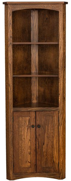 You'll save on every piece of furniture at Amish Outlet Store! We custom make every item, and you can get the Mission Corner Bookcase w/Doors in Oak with any wood and stain.