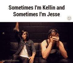 I don't listen to Sleeping With Sirens, but this gif describes my friends and I perfectly. Friends=Kellin Me=Jesse Emo Bands, Music Bands, Rock Bands, Music Is Life, My Music, Falling In Reverse, Kellin Quinn, Band Memes, Black Veil Brides