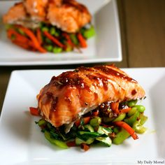 Asian Slow-Roasted Salmon over carrots, bok choy, and edamame.