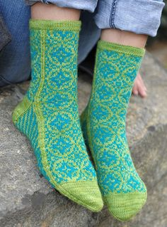 Zirkel. by Stephanie van der Linden - colourwork sock obsession.  Having a stripe down each side makes it easy to keep track of where the sole ends