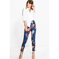 Boohoo Night Nova Autumn Floral Stretch Skinny Trousers ($24) ❤ liked on Polyvore featuring pants, navy, white wide leg trousers, basic t shirt, floral pants, white pants and white palazzo pants